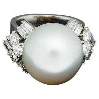 Stunning 1950s Mid Century 14k Tiffany & Co. 15.5mm South Sea Pearl 1.80ct VVS Diamond Ring
