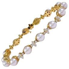 "Iconic RARE Tiffany & Co. ""Aria"" 18k Gold 2.15 F/VS Diamond Pearl Bracelet"