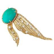 Stunning Tiffany & Co. 18k Gold Turquoise 0.92 ct Diamond Fur Clip Pin / Brooch / Pendant