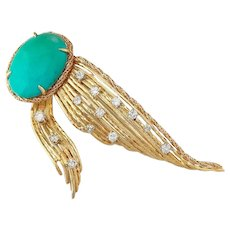 Stunning Tiffany & Co. 18k Gold Turquoise 0.92 ct Diamond Fur Clip Pin / Brooch / Pendant