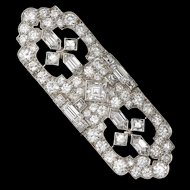Stunning Impressive Tiffany & Co. Art Deco Platinum 950 6.40 cttw G/VS1 Diamond Brooch Pin & Pendant