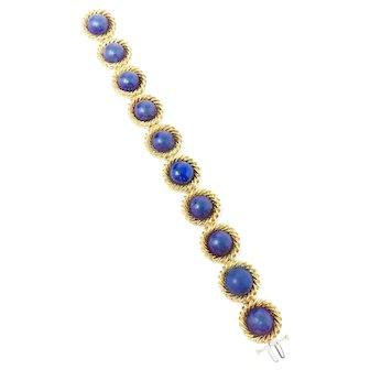 Vintage Estate 1970's Tiffany & Co. 18 Karat Heavy Lapis Lazuli Cuff Bracelet