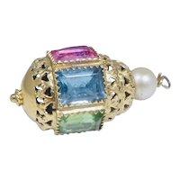 Vintage 14K Gold Pink Blue Green Tourmaline Citrine Pearl Pendant Charm