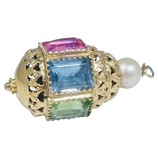 Vintage 14K Gold Pink Blue Green Tourmaline Citrine Pearl Pendant Charm