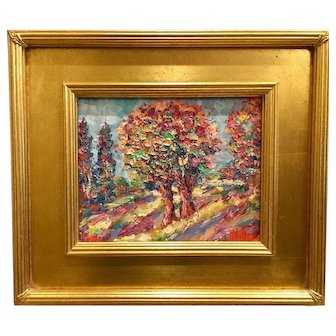 """Trees Impasto Autumn Landscape"", Original Oil Painting by artist Sarah Kadlic, 8x10"" Gilt Wood Frame"