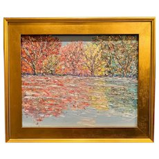 """Impressionist Abstract Trees Landscape "", Original Oil Painting by artist Sarah Kadlic, 20""x24"" Gilt Leaf Framed"