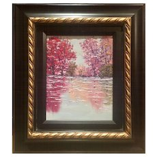"""Abstract Reds & Pinks of Trees on Water Landscape"", Original Oil Painting by artist Sarah Kadlic, Gilt Leaf Frame 13x15"