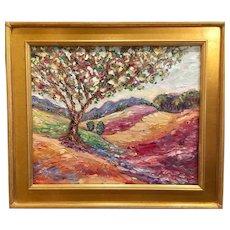 """Abstract Tree Impasto Landscape"", Original Oil Painting by artist Sarah Kadlic, 24x20"" Gilt Leaf Wood Frame"