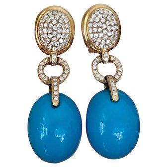 Designer Estate Audmars Piguet 1.98 VS Diamond Turquoise Cabochon Pendant Dangle Earrings