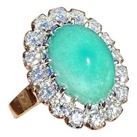 Stunning Estate 14k Gold Turquoise Cabachon 1.28ct Diamond Halo Ballerina Ring