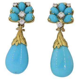 Vintage Estate Mid Century 1970s 18k Yellow Gold Turquoise .80ctw Diamond Drop Dangle Earrings