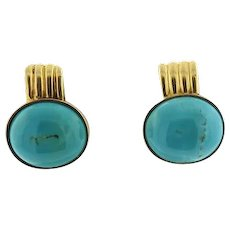"""Stunning and Impressive Vintage Estate 1960s Turquoise """"Luxe"""" Cabochon Earrings, set in 18k Gold"""