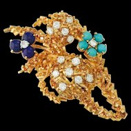 "Stunning Impressive French 18k Gold, 0.98cttw Diamond, Turquoise and Lapis Pin/Pendant Brooch, Maker's Mark ""R C"""