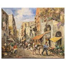 Mid Century Italian Village Original Oil Painting Tuscany Italy Impasto Landscape