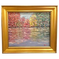 """Abstract Autumn Trees Impasto Landscape"", Original Oil Painting by artist Sarah Kadlic, 24x20"" Gilt Wood Frame"