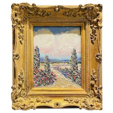 """Abstract Impasto Tuscan Italy"", Original Oil Painting by artist Sarah Kadlic, 15x13"" Gilt Leaf Wood Frame"
