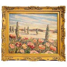 """Impressionist Tuscany Impasto Landscape"", Original Oil Painting by artist Sarah Kadlic, 24""x20"" Gilt Leaf Carved French Frame"