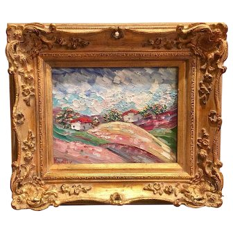 """""""Tuscany Italy Country Landscape"""", Original Oil Painting by artist Sarah Kadlic, 8x10 Gilt Wood French Frame"""