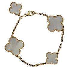 Stunning Estate Van Cleef & Arpels 18k Gold Magic Alhambra White Mother of Pearl Bracelet - 4 Motifs