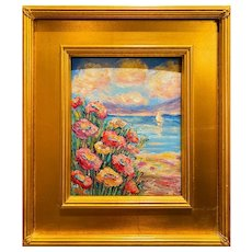 """Abstract Wildflowers Floral Seascape "", Original Oil Painting by artist Sarah Kadlic, Carved Gilt Wood Frame 14"""
