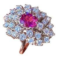 Vintage 18k White Gold 3.45ctw Rubellite Pink Tourmaline Diamond Cocktail Ring