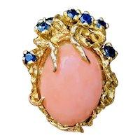 Vintage Heavy 1960s Retro 14k Gold Freeform Salmon Coral Blue Sapphire Cocktail Ring