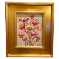 """Modern Flowers on Pale Gray"", Original Oil Painting by artist Sarah Kadlic, Gilt Leaf Wood Frame 8x10"