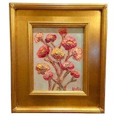 """Modern Flowers on Pale Gray"", Original Oil Painting by artist Sarah Kadlic, Gilt Leaf Wood Frame 8x10"