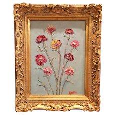 """Wildflowers Grouping"", Original Oil Painting by artist Sarah Kadlic, 12x16"" Gilt Leaf Wood Frame"