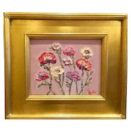 """Abstract Wildflowers"", Original Oil Painting by artist Sarah Kadlic, 8x10"" with Gilt Wood Carved French Frame"