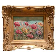 """Abstract Wildflowers Floral Landscape"", Original Oil Painting by artist Sarah Kadlic, 8x10"" Gilt Leaf Frame"