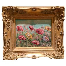 """""""Abstract Wildflowers Floral Landscape"""", Original Oil Painting by artist Sarah Kadlic, 8x10"""" Gilt Leaf Frame"""