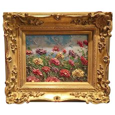 """""""Abstract Colored Wildflowers Impasto"""", Original Oil Painting by artist Sarah Kadlic, 13""""x15"""" Gilt Leaf French Frame"""