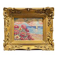 """Abstract Impressionist Wildflowers Floral Seascape"", Original Oil Painting by artist Sarah Kadlic, 13x15"" Gilt Leaf Wood Frame"