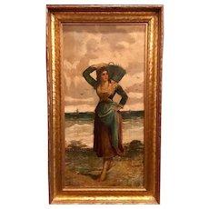 Striking European Woman Lady Original Oil on Canvas Painting Signed E. Jolli, 19th Century