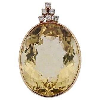 Beautiful 14k Gold Diamond Yellow Tourmaline Gemstone Necklace Pendant