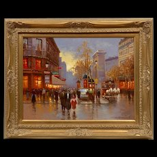 "Beautiful French Original Oil Painting Signed by Artist Yuri Kuzmin (Russian, b. 1949), 25.5 x 31.5"", Gilt Wood Frame"