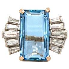 Vintage 14k Gold Retro 7.00ct Santa Maria Blue Aquamarine Baguette Diamond Halo Ring