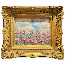"""Abstract Wild Flowers Floral"", Original Oil Painting by artist Sarah Kadlic, 13""x15"" Gilt Leaf Wood Frame"