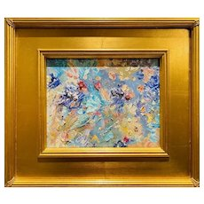 """Abstract Expressionist Impasto Blue Palette"", Original Oil Painting by artist Sarah Kadlic, 16""x14"" Gilt Wood Framed"