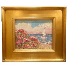 """Impressionist Seascape View through Poppies"", Original Oil Painting by artist Sarah Kadlic, 8x10"" Gilt Leaf Wood Frame"