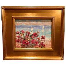 """French Wild Flowers Seascape Abstract"", Original Oil Painting by artist Sarah Kadlic, 8x10"" Gilt Leaf Plein Air Frame"