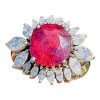 Vintage 18k White Gold 6.17ct Rubellite Pink Tourmaline Diamond Cocktail Ring