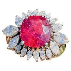 Vintage 18k White Gold 6.17ct Rubellite Pink Tourmaline Diamond Cocktail Ring