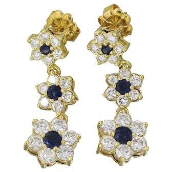 "Beautiful Vintage Estate 18k Gold Diamond 1.12cttw Sapphire Dangle Floral Earrings, 1"""