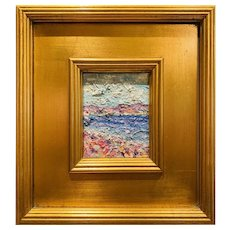 """Abstract Seascape Impasto"" Original Oil Painting by artist Sarah Kadlic, 12""x11"""