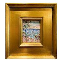 """Abstract Seascape Impasto"" Original Oil Painting by artist Sarah Kadlic, 12""x11"" Gilt Wood Frame"