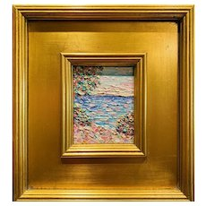 """Abstract Seascape Impasto"" Original Oil Painting by artist Sarah Kadlic, 12""x11"" Gilt Wood Frame"
