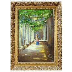"Stunning ""Italian Girl by Perogola"" Original Oil Painting Gilt Carved Frame"