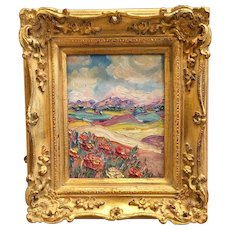 """Tuscany Italy Country Landscape"", Original Oil Painting by artist Sarah Kadlic, 8x10 Gilt Wood French Frame"